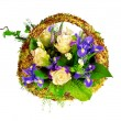 Stock Photo: Basket of roses, iris dutch xiphium, and veronica