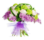 Bouquet of lilacs, roses and irises — Stock Photo
