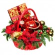 Stock Photo: Christmas gift basket on white background