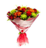 Bouquet of gerberas, roses and chrysanthemums — Stock Photo
