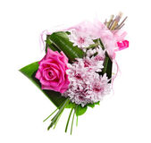 Bouquet of blossom pink roses and chrysanthemums — Stock Photo
