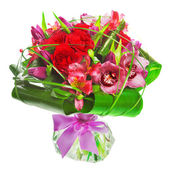 Bouquet of tulips and roses — Stock Photo