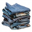 Stack of blue denim clothes — Stock Photo #9364556