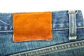 Tom etikett på begagnade blå jeans — Stockfoto