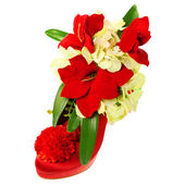 Lady's shoe decorated with flowers — Stock Photo