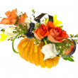 Stock Photo: Orange roses and tulips in vase