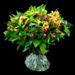 Stock Photo: Bouquet of red and yellow alstroemeria
