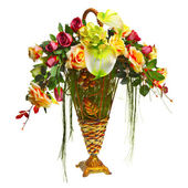 Basket with roses and anthurium — Stock Photo