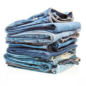 Stack of blue denim clothes — Stock Photo
