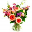 Stock Photo: Bouquet of roses, gerberas and alsrtomerias