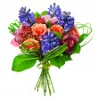 Bouquet of roses, lily and geatsint — Stockfoto