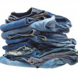 Stock Photo: Stack of blue denim clothes