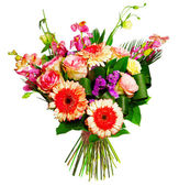 Bouquet of roses, gerberas and alsrtomerias — Stock Photo