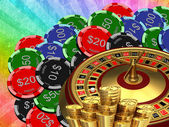 Roulette with the casino chips — Stock Photo