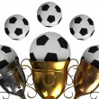 Cup and soccer ball — Stock Photo