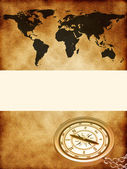 World map with a compass — Stock Photo