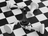 Winning of black chess king — Stock Photo
