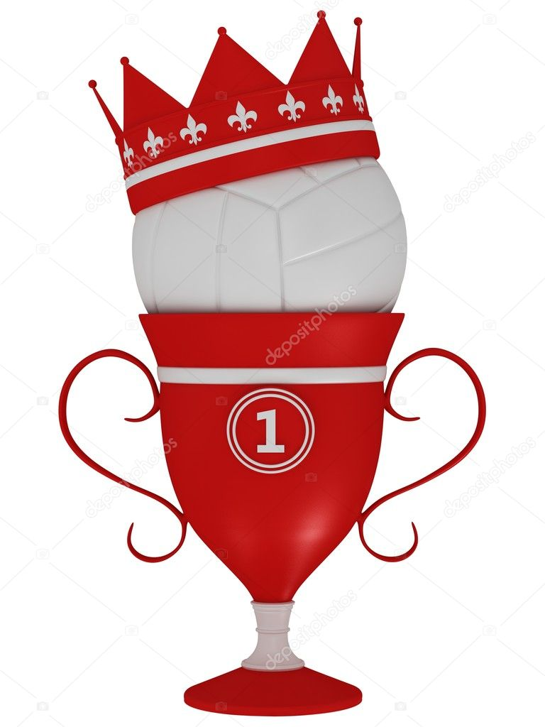 Volley ball with the cup on a white background — Stock Photo #10729732