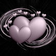 Stock Photo: Hearts on abstract background