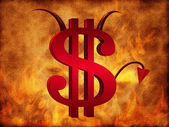 The Devil dollar sign — Stock Photo
