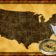 Map of USA with compass - Stock Photo