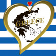 Stock Photo: Map of Greece with flag