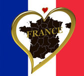 France map with flag — Stock Photo