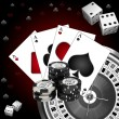 Dice playing cards and roulette — Stock Photo