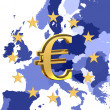 Europe and sign of euro — Stock Photo