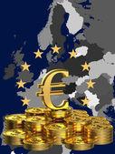 Europa y signo de euro — Foto de Stock