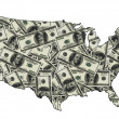 Stock Photo: Map of USA with dollars