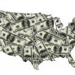 Stock Photo: Map of USwith dollars