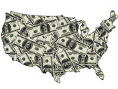 Map of USA with dollars — Stock Photo