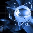 Atoms on blue background - Stock Photo