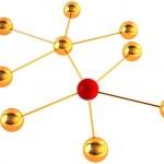 Gold model of a molecule — Stock Photo
