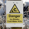An Ice Breaks Danger Sign — Stock Photo