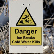 Warning Sign for Thin Ice — Stock Photo