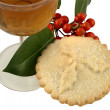 Mince Pie. Sherry and Holly Berries — Stock Photo #8416137