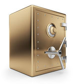 Golden safe box 3D. Bank vault. Isolated on white background — Stock Photo
