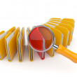 Folder and file search with magnifying glass. 3D isolated on whi — Stock Photo #8025243