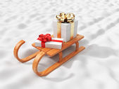 Gift on wooden sled, going on snow. Christmas concept. 3D illus — Stock Photo