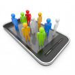 Social network on mobile smartphone 3D. Communication concept. I — Stock Photo