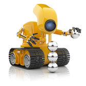 Futuristic robot hold sphere. Artificial intelligence concept. — Stock Photo