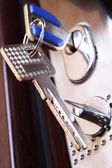 Safe door. Key in a keyhole. opening — Stock Photo
