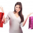Woman holding shopping bag. Isolated — Stock Photo #8397795