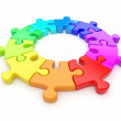 Colorful puzzle ring 3D. Team concept. Isolated on white backgro — Stock Photo