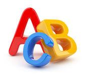 カラフルなシンボルのアルファベットのヒープ。アイコンの 3 d。教育の概念 — ストック写真