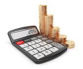 Miniräknare och guldmynt. ikonen 3d. affärsidé. isolerad på — Stockfoto