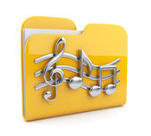 Yellow music folder with note symbols. Icon 3D. Isolated on whi — Stock Photo