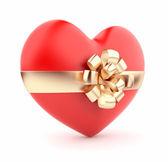 Obecny walentynki. czerwone serca 3d. na białym tle — Zdjęcie stockowe